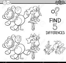 発見の黒と白の漫画イラスト塗り絵の子供とおもちゃ幼児教育活動を違い