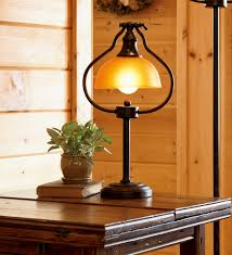 Library Tabledesk Lamp With Amber Glass Shade And Antique Bronze
