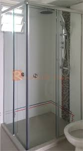 top hung l shape sliding shower screen