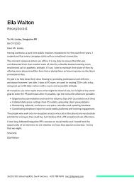 receptionist cover letter exles