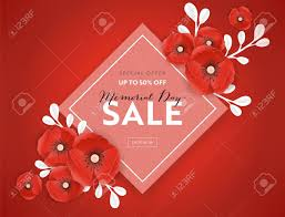 Red Paper Flower Memorial Day Sale Banner With Red Paper Cut Poppy Flowers Remembrance