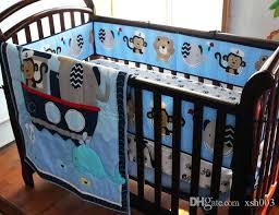 whale crib sets crib bedding set baby bedding set embroidery monkey elephant navigation blue sea whale cot bedding set quilt per skirt girls comforter