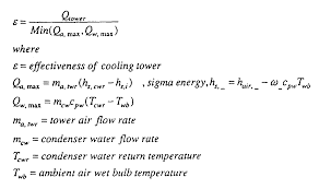 program information is adapted to determine the near optimum condenser water flow by determining the cooling tower effectiveness by using the equation
