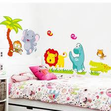 Us 368 31 Offgrote Jungle Dieren Bridge Vinyl Muurstickers Kids Slaapkamer Behang Decals Leuke Anime Baby Kinderen Cartoon Kamer Nursery Decor In
