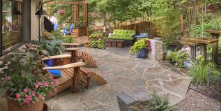 backyard landscape designs.  Designs Rustic Garden Container Plantings Garden Decor Adirondack Chairs  Flagstone Water Feature In Backyard Landscape Designs