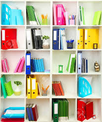 shelves for office. white office shelves with different stationery close up stock photo 19412729 for