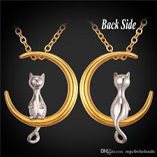 whole u7 cat moon pendant necklace new hot stainless steel gold plated link chain for pet lucky jewelry women lovely gift accessories gp2419 friendship