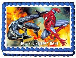 Spiderman And Venom Edible Cake Topper Party Image Etsy