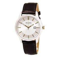 bulova men s stainless steel and leather date watch