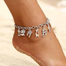 Anklet Design Minhin New Design Animals Charm Anklet Vintage Style Silver Cat Fox Pendant Chain Anklet For Women Barefoot Beach Jewelry