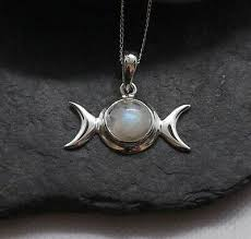 sterling silver moonstone triple moon