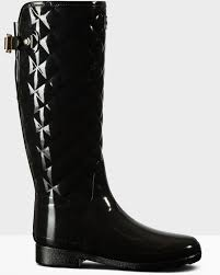 hunter women s original refined tall quilted gloss wellington boots black 1 jpg
