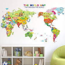 kids world map wall stickers home