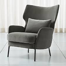 Modern furniture Metal Alex Grey Velvet Accent Chair Mydomaine Modern Furniture Crate And Barrel