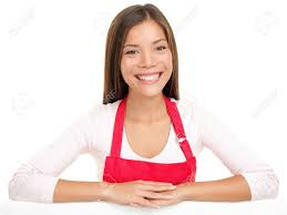 apron w s assistant clerk smiling happy arms on stock photo apron w s assistant clerk smiling happy arms on edge for sign or similar beautiful content and joyful female model isolated on