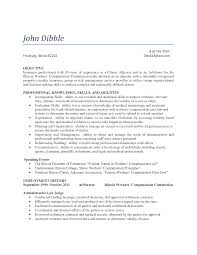 pleasant resume for insurance claims adjuster for insurance