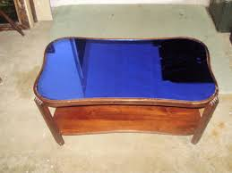 vintage art deco wood coffee table with cobalt blue mirrored glass top 1 of 12 see more
