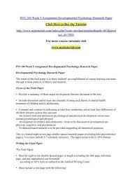 Psy 104 Week 5 Assignment Developmental Psychology Research