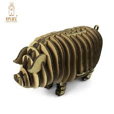 3d puzzle piggy toy model paper craft kids diy art cardboard animal cute pig decoration