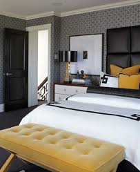 bedroom, Contemporary Bedroom With White Beds Set Plus Astounding Padded  Wall Panels And Comfortable Yellow