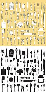 kitchen utensils silhouette vector free. Kitchen Utensil Set Vector Utensils Silhouette Free A