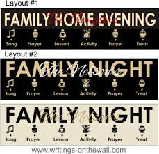Family Home Evening Chart Symbols 2 Color Vinyl Only