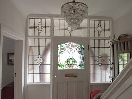 through the round window 1930s stained glass door panel with inviting panels for front doors and