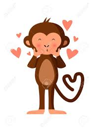 cute monkey ing kisses romantic vector ilration stock vector 47866565
