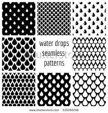 Drops Patterns Unique Set Water Drops Seamless Patterns Black Stock Illustration 48