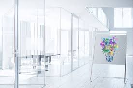 bright office. Bright Office Interior With Business Sketch On Whiteboard Stand. Ideas Concept. 3D Rendering Stock ,