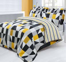 double bed printed reversible geometric jazz yellow black duvet cover pillowcase bedding set co uk kitchen home