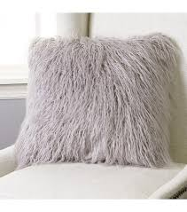 Shaggy Grey Faux Fur Pillow 2 Sizes