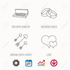 Wedding Ring Chart Love Heart Jewelry And Wedding Rings Icons Arrows With Hearts