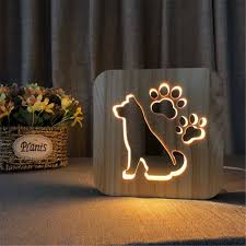 Led Dog Box Lights Us 18 89 31 Off Led Night Light Creative Wooden Dog Paw Lamp Kids Bedroom Decoration Warm Light French Bulldog For Children Gifts In Led Night