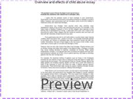 overview and effects of child abuse essay essay help overview and effects of child abuse essay summary the paper focuses on the effects of