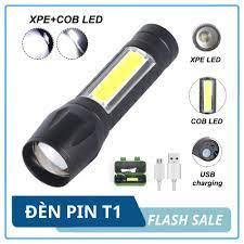 Đèn pin mini siêu sáng T1 3 chế độ sáng, chống nước, kèm hộp + cáp sạc - Đèn  pin LED cầm tay mini đa năng