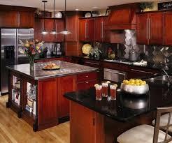 cherry kitchen cabinets black granite. cherry wood cabinets, black granite countertops, stainless steel appliances...blue walls kitchen cabinets