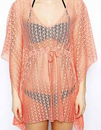 Asos Lace Beach Kaftan In Orange Lyst
