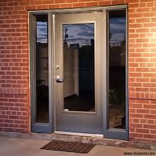 hollow metal door with full glass vision lite