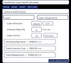 Loan Payoff Schedule Calculator Installment Loan Payoff Calculator