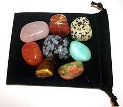 8 Semi Precious Tumbled Stones Collection Snowflake Obsidian Tigers Eye Jasper Rhodonite Green Aventurine Dalmation Stone Brecciated Jasper Rose
