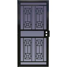 metal security screen doors. LARSON Matrix Black Steel Surface Mount Single Security Door (Common: 36-in X Metal Screen Doors C