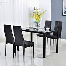 Modern dining room tables Roomstogo Amazoncom Bonnlo Modern Pieces Dining Table Set Glass Top Dining Table And Chairs Set For Person Black Table Chair Sets Amazoncom Amazoncom Bonnlo Modern Pieces Dining Table Set Glass Top