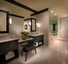 a great bathroom remodel white tile and walnut cabinets
