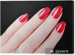 Obraz Překrásná Pěkný ženách Ruce Prsty Sexy červené Nehty Nehty Na Plátně