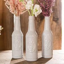 Vintage Inspired Ceramic Bottle with Lavender Motif