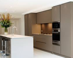 handleless kitchen design. mid-sized contemporary white floor eat-in kitchen idea in london with an undermount handleless design