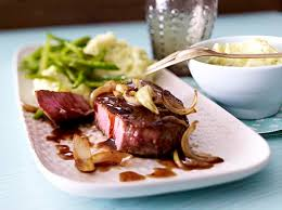 Cut beef into thick slices; Beef Fillet Steak With Wasabi Mashed Potatoes Recipe Delicious