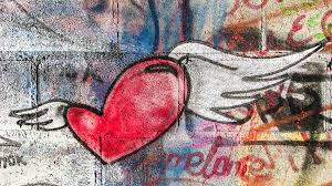 wall flying love heart romance graffiti painting art ilration cyprus modern art larnaca