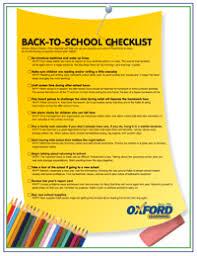 School Checklist Back To School Checklist Oxford Learning